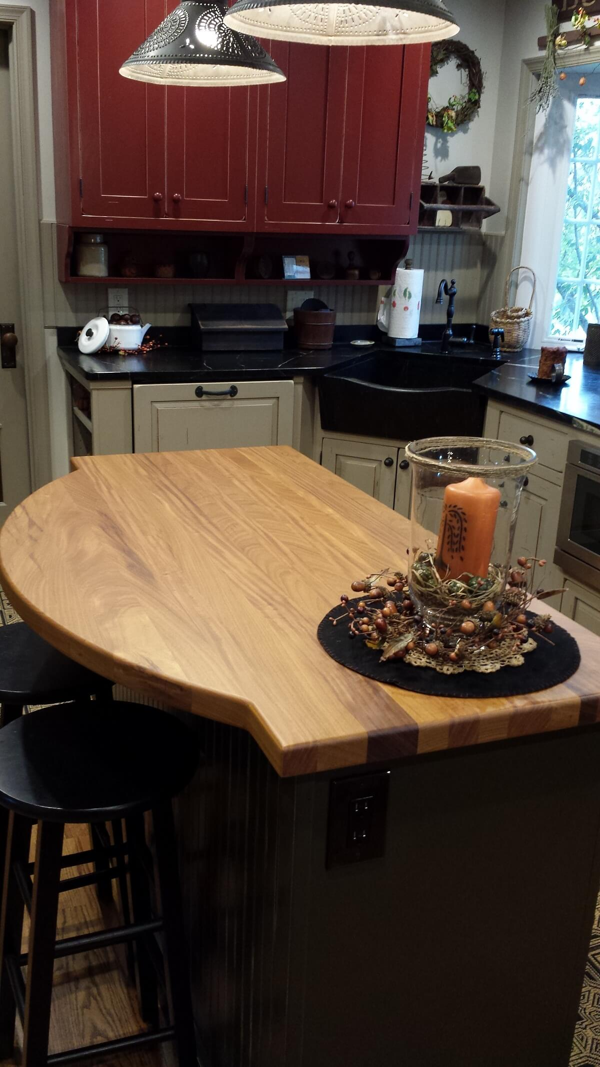 Kitchen island with natural wood counter