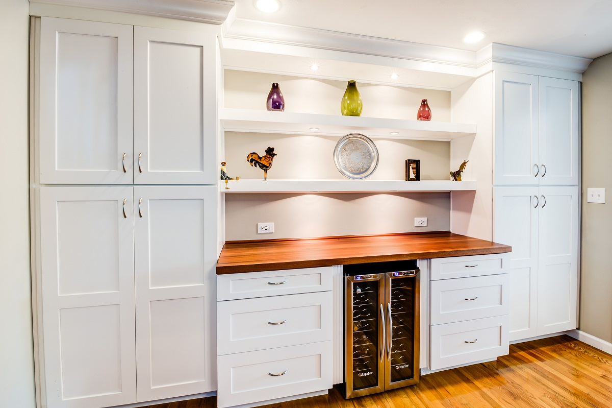 Storage cabinets with counter and wine fridge